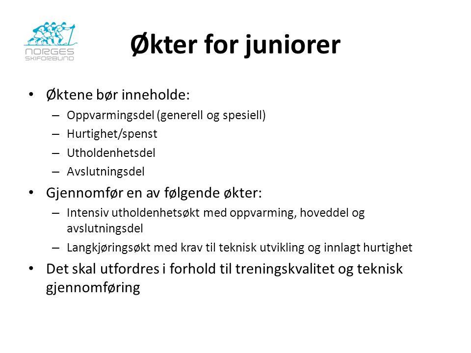 Økter for juniorer Øktene bør inneholde: – Oppvarmingsdel (generell og spesiell) – Hurtighet/spenst – Utholdenhetsdel – Avslutningsdel Gjennomfør en a