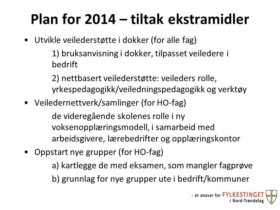 Plan for 2014 – tiltak ekstramidler Utvikle veilederstøtte i dokker (for alle fag) 1) bruksanvisning i dokker, tilpasset veiledere i bedrift 2) nettbasert veilederstøtte: veileders rolle, yrkespedagogikk/veiledningspedagogikk og verktøy Veiledernettverk/samlinger (for HO-fag) de videregående skolenes rolle i ny voksenopplæringsmodell, i samarbeid med arbeidsgivere, lærebedrifter og opplæringskontor Oppstart nye grupper (for HO-fag) a) kartlegge de med eksamen, som mangler fagprøve b) grunnlag for nye grupper ute i bedrift/kommuner
