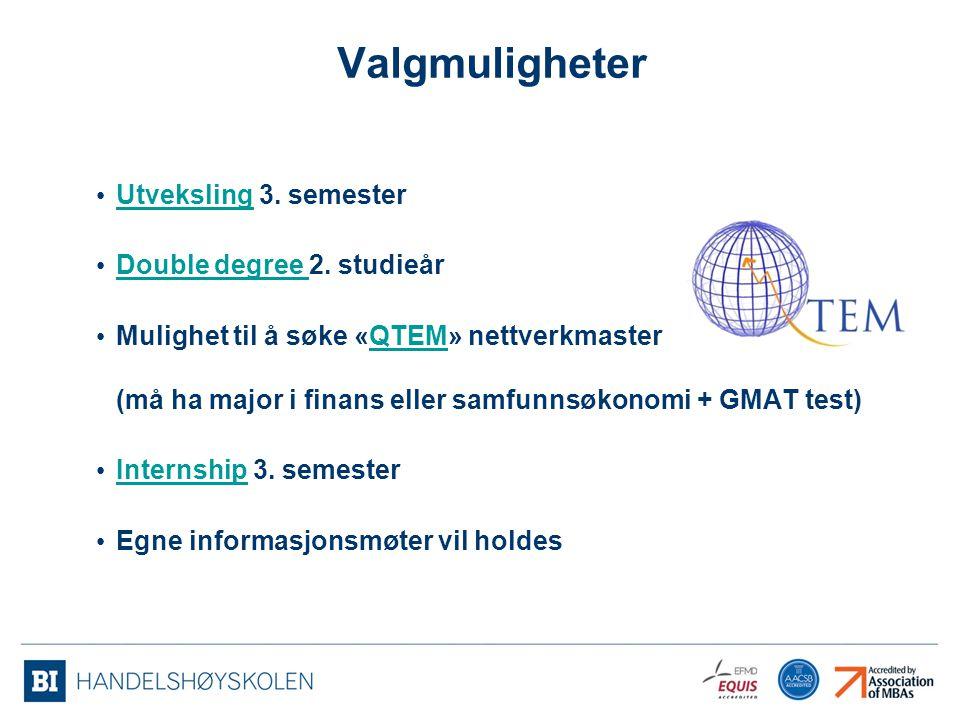 Valgmuligheter Utveksling 3. semester Utveksling Double degree 2. studieår Double degree Mulighet til å søke «QTEM» nettverkmaster (må ha major i fina