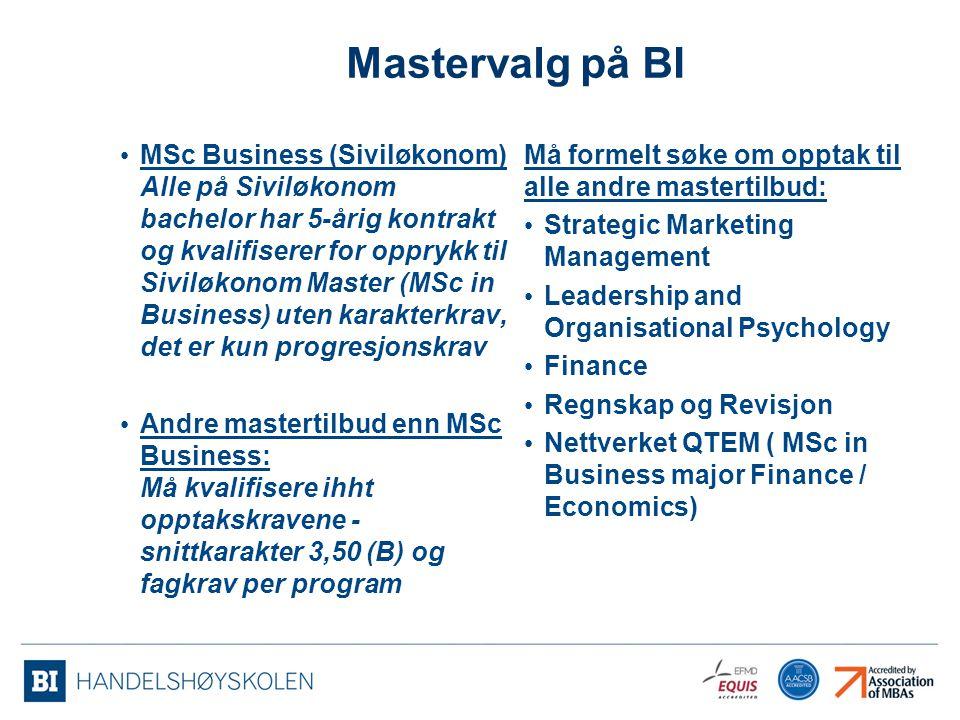 Mastervalg på BI MSc Business (Siviløkonom) Alle på Siviløkonom bachelor har 5-årig kontrakt og kvalifiserer for opprykk til Siviløkonom Master (MSc i