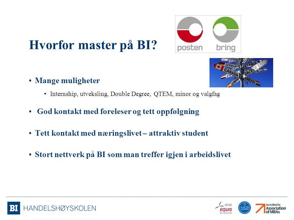 Hvorfor master på BI? Mange muligheter Internship, utveksling, Double Degree, QTEM, minor og valgfag God kontakt med foreleser og tett oppfølgning Tet