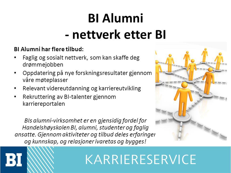 BI Alumni - nettverk etter BI BI Alumni har flere tilbud: Faglig og sosialt nettverk, som kan skaffe deg drømmejobben Oppdatering på nye forskningsres