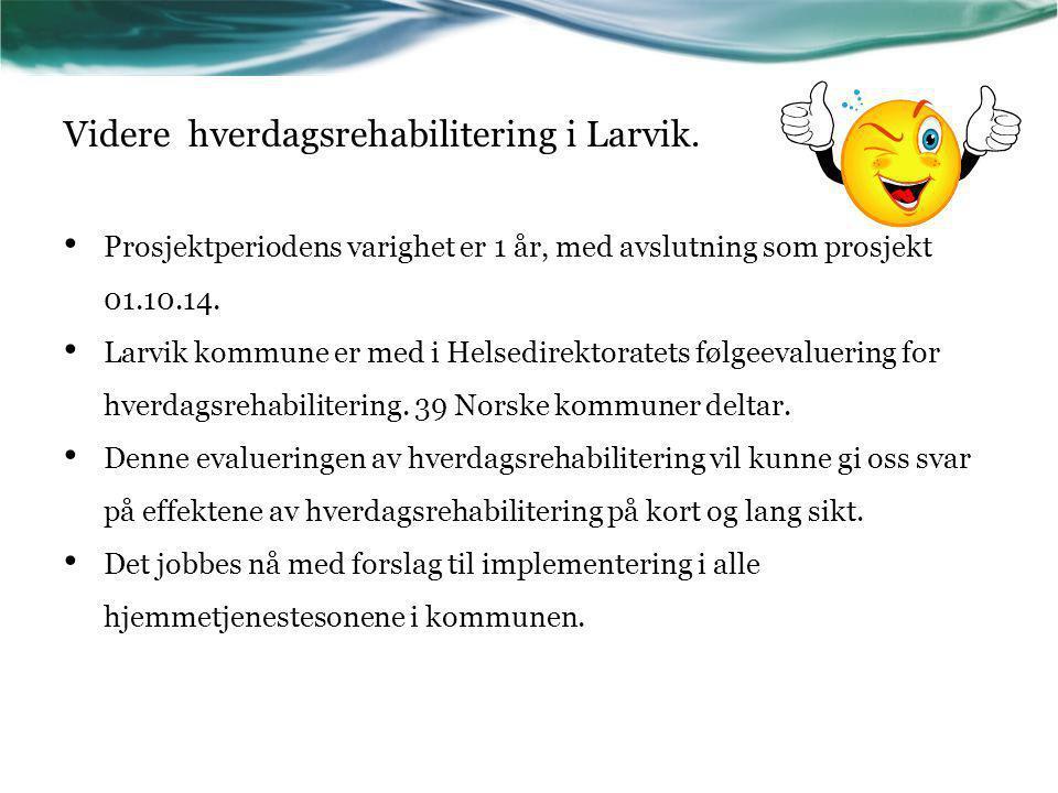 Videre hverdagsrehabilitering i Larvik. Prosjektperiodens varighet er 1 år, med avslutning som prosjekt 01.10.14. Larvik kommune er med i Helsedirekto