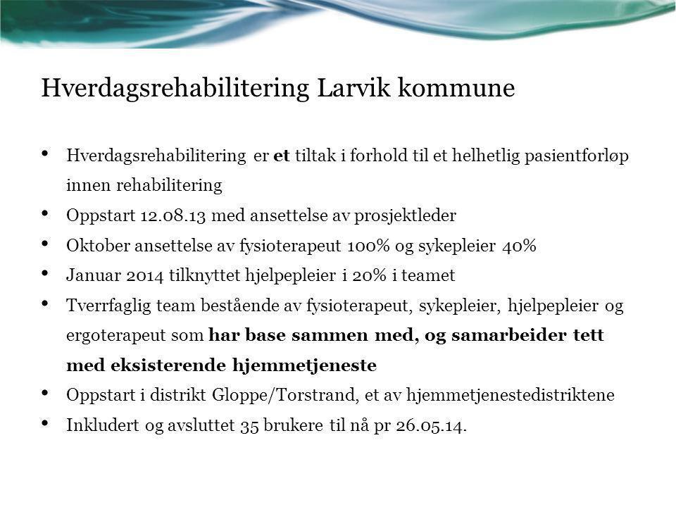 Hverdagsrehabilitering Larvik kommune Hverdagsrehabilitering er et tiltak i forhold til et helhetlig pasientforløp innen rehabilitering Oppstart 12.08