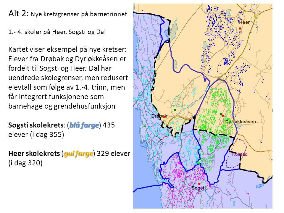 Alt 2: Nye kretsgrenser på barnetrinnet 1.- 4.