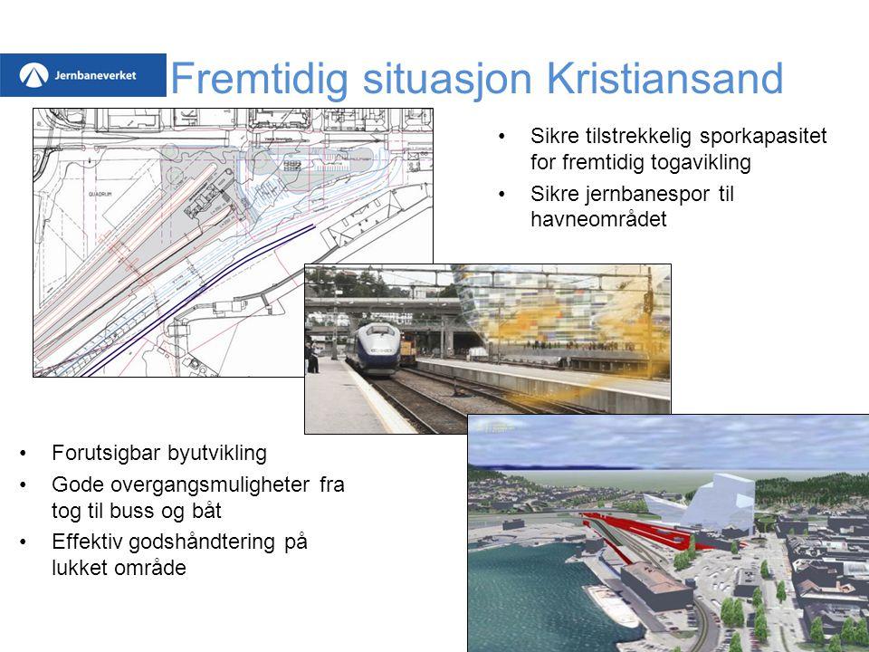 Fremtidig situasjon Kristiansand Forutsigbar byutvikling Gode overgangsmuligheter fra tog til buss og båt Effektiv godshåndtering på lukket område Sik