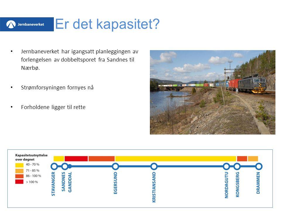 Er det kapasitet? Jernbaneverket har igangsatt planleggingen av forlengelsen av dobbeltsporet fra Sandnes til Nærbø. Strømforsyningen fornyes nå Forho
