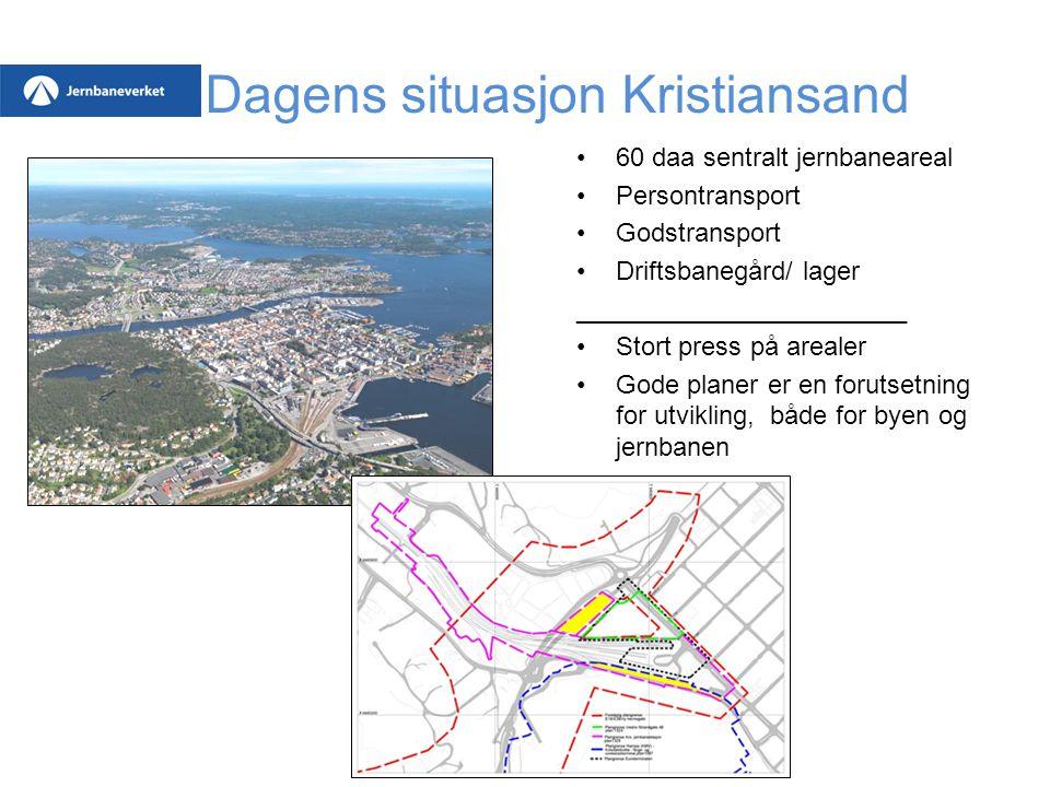 Dagens situasjon Kristiansand 60 daa sentralt jernbaneareal Persontransport Godstransport Driftsbanegård/ lager _______________________ Stort press på