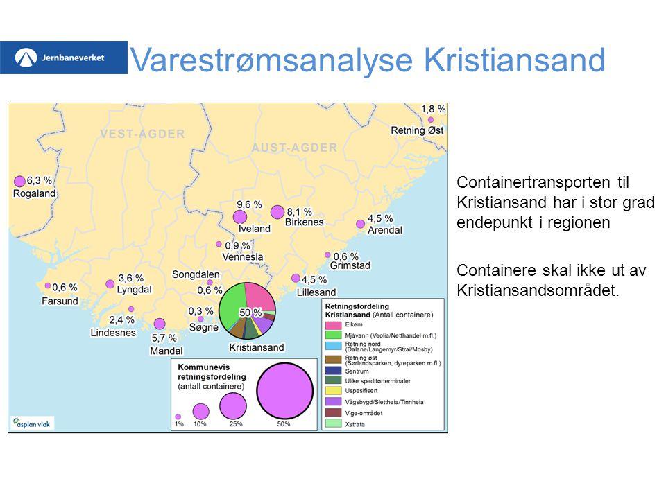 Varestrømsanalyse Kristiansand Containertransporten til Kristiansand har i stor grad endepunkt i regionen Containere skal ikke ut av Kristiansandsområ