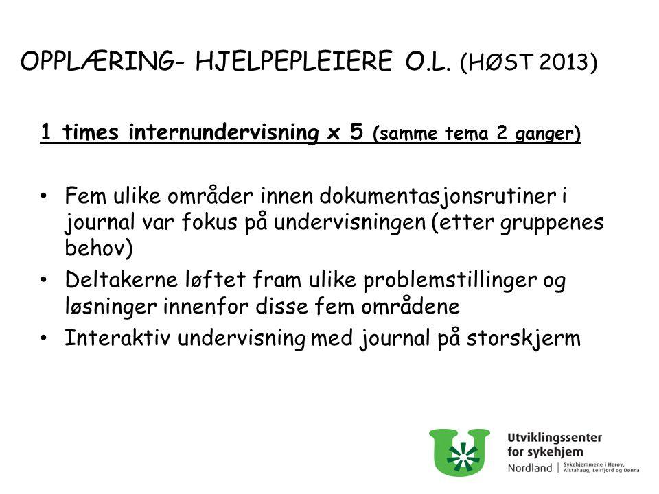 OPPLÆRING- HJELPEPLEIERE O.L. (HØST 2013) 1 times internundervisning x 5 (samme tema 2 ganger) Fem ulike områder innen dokumentasjonsrutiner i journal
