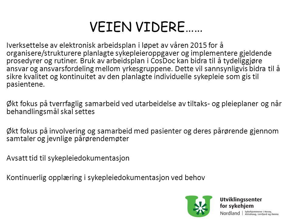 VEIEN VIDERE…… Iverksettelse av elektronisk arbeidsplan i løpet av våren 2015 for å organisere/strukturere planlagte sykepleieroppgaver og implementer