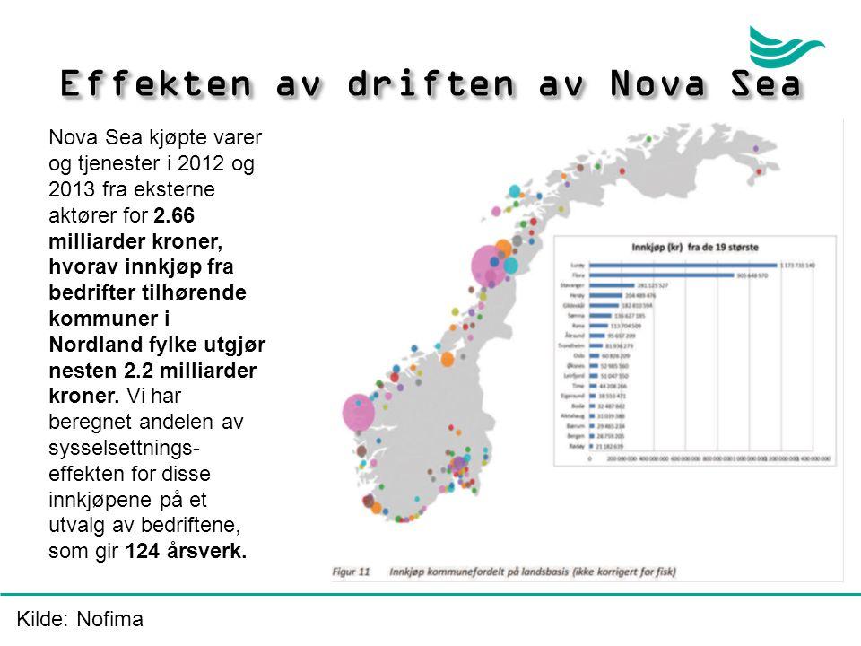 Effekten av driften av Nova Sea Nova Sea kjøpte varer og tjenester i 2012 og 2013 fra eksterne aktører for 2.66 milliarder kroner, hvorav innkjøp fra bedrifter tilhørende kommuner i Nordland fylke utgjør nesten 2.2 milliarder kroner.