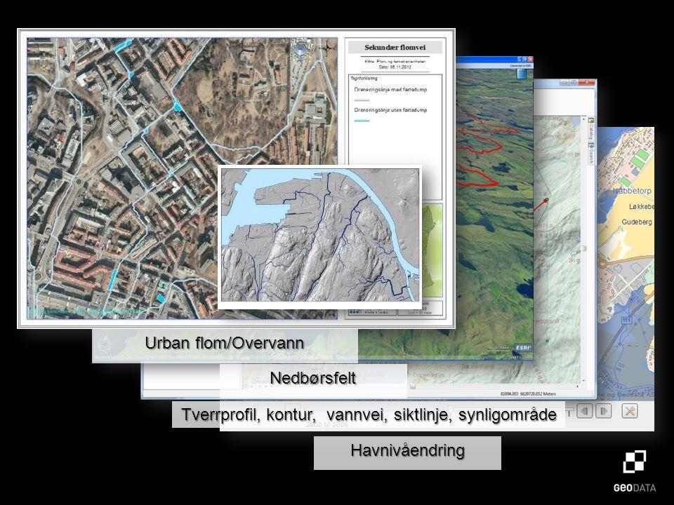 Havnivåendring Tverrprofil, kontur, vannvei, siktlinje, synligområde Nedbørsfelt Urban flom/Overvann