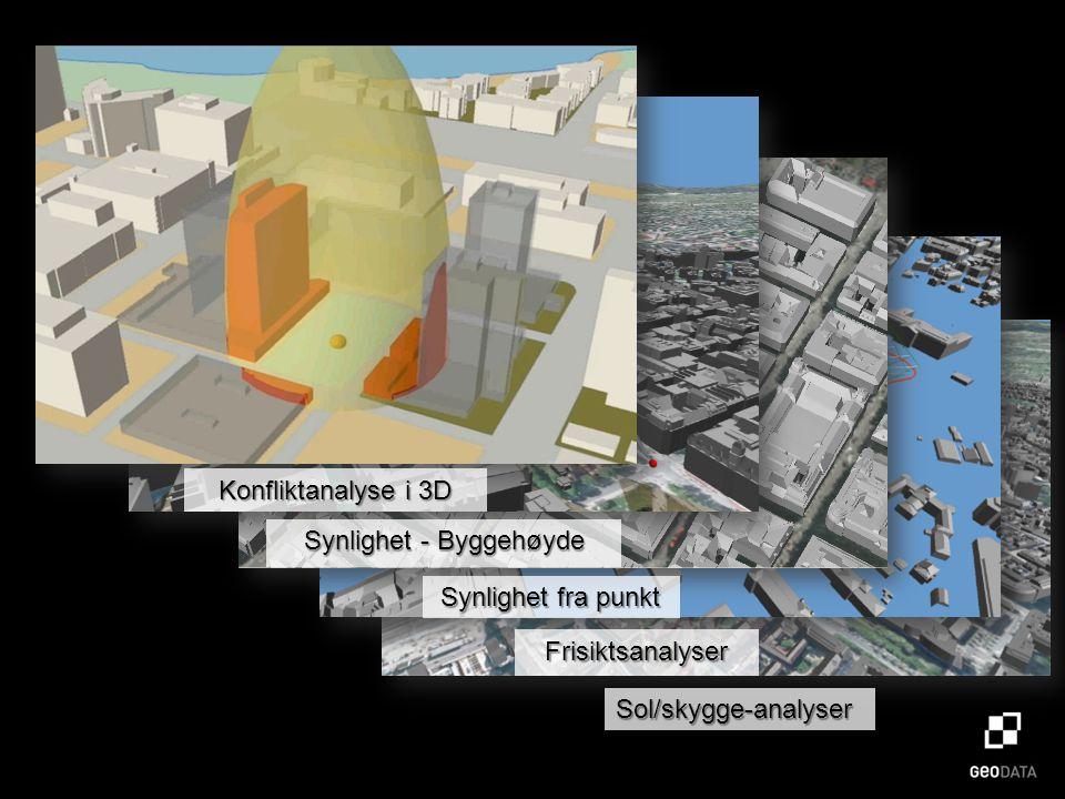 Sol/skygge-analyser Frisiktsanalyser Synlighet fra punkt Synlighet - Byggehøyde Konfliktanalyse i 3D