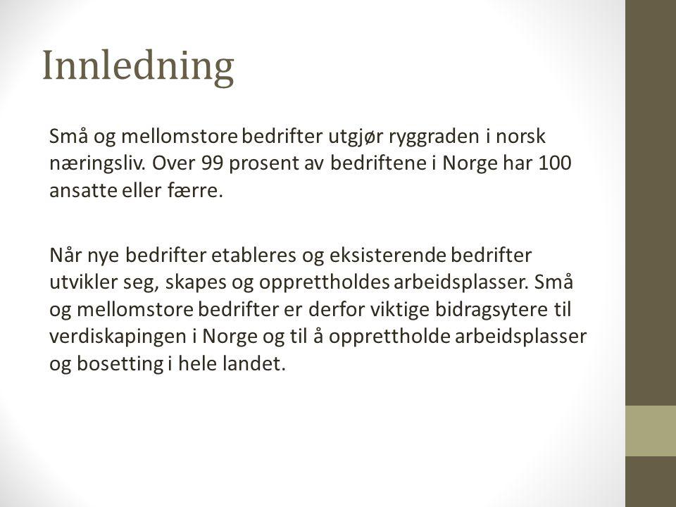 Innledning Små og mellomstore bedrifter utgjør ryggraden i norsk næringsliv.