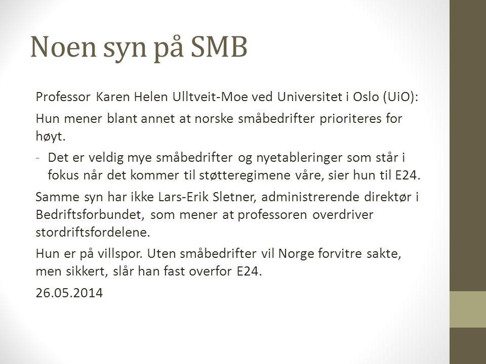 Noen syn på SMB Professor Karen Helen Ulltveit-Moe ved Universitet i Oslo (UiO): Hun mener blant annet at norske småbedrifter prioriteres for høyt.