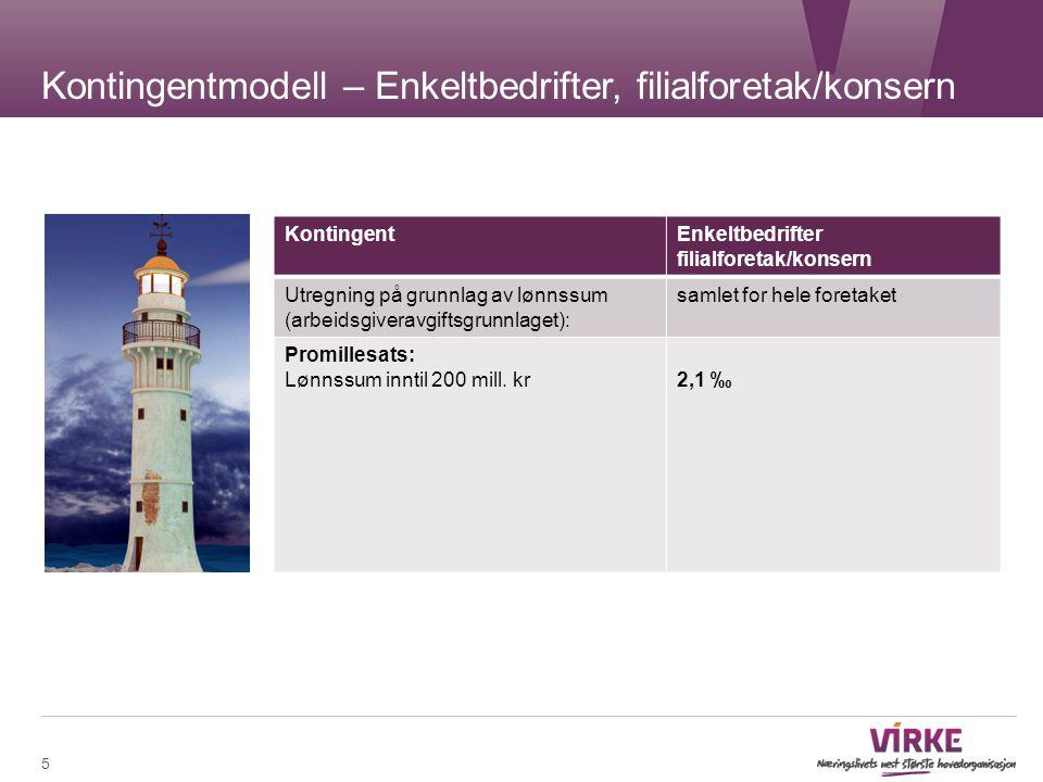Kontingentmodell – Enkeltbedrifter, filialforetak/konsern 5 KontingentEnkeltbedrifter filialforetak/konsern Utregning på grunnlag av lønnssum (arbeids