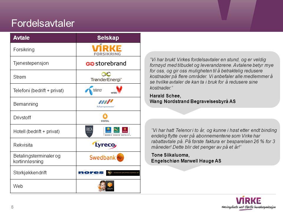 AvtaleSelskap Forsikring Tjenestepensjon Strøm Telefoni (bedrift + privat) Bemanning Drivstoff Hotell (bedrift + privat) Rekvisita Betalingsterminaler