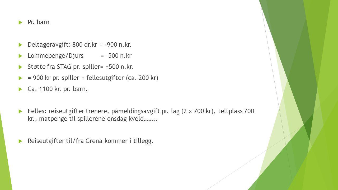  Pr. barn  Deltageravgift: 800 dr.kr = -900 n.kr.