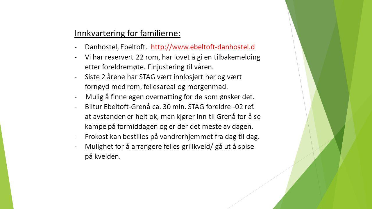 Innkvartering for familierne: -Danhostel, Ebeltoft. http://www.ebeltoft-danhostel.d -Vi har reservert 22 rom, har lovet å gi en tilbakemelding etter f
