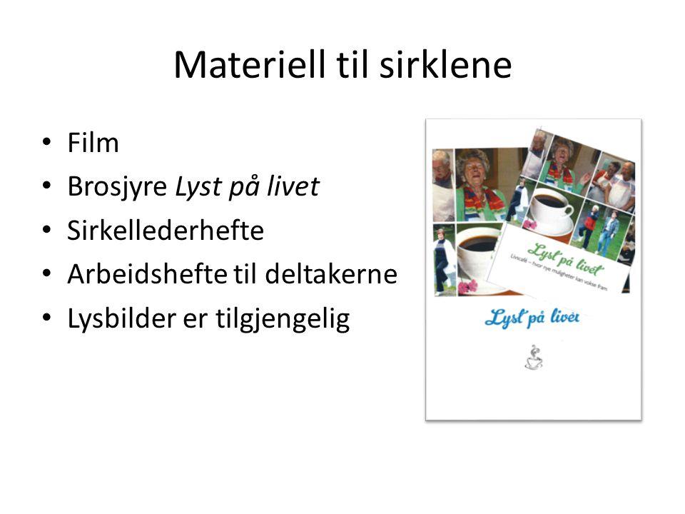 Materiell til sirklene Film Brosjyre Lyst på livet Sirkellederhefte Arbeidshefte til deltakerne Lysbilder er tilgjengelig