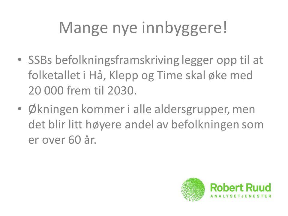 Mange nye innbyggere! SSBs befolkningsframskriving legger opp til at folketallet i Hå, Klepp og Time skal øke med 20 000 frem til 2030. Økningen komme