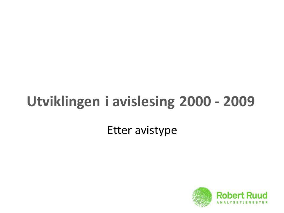 Utviklingen i avislesing 2000 - 2009 Etter avistype