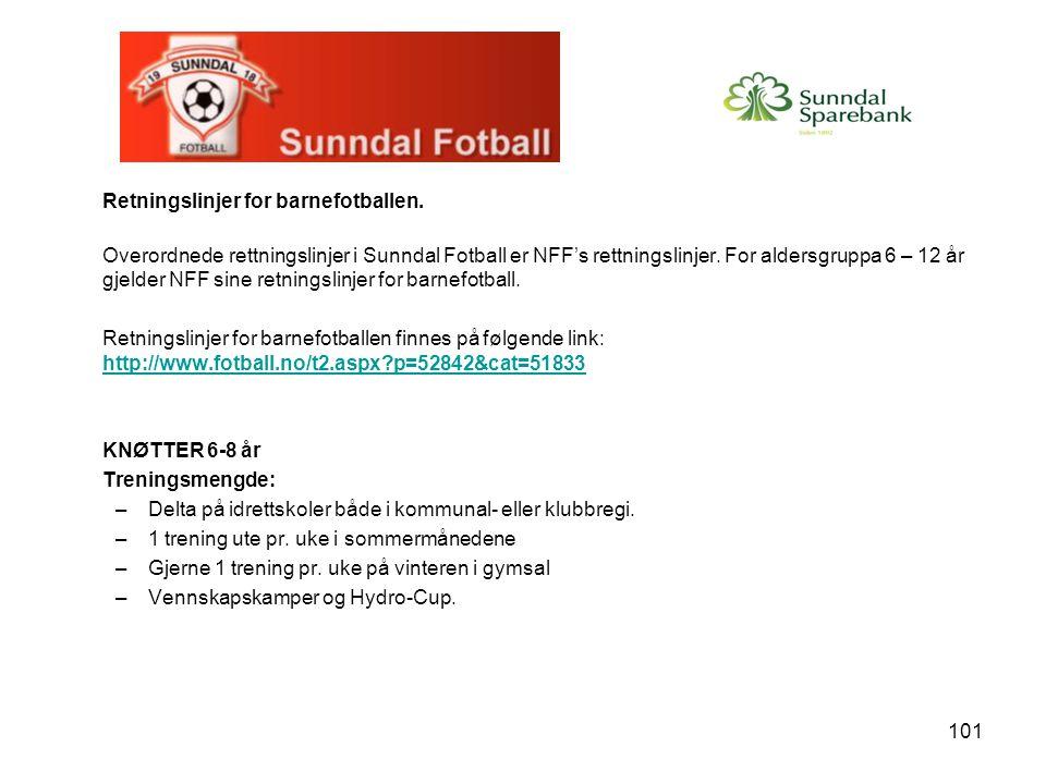 101 Retningslinjer for barnefotballen. Overordnede rettningslinjer i Sunndal Fotball er NFF's rettningslinjer. For aldersgruppa 6 – 12 år gjelder NFF