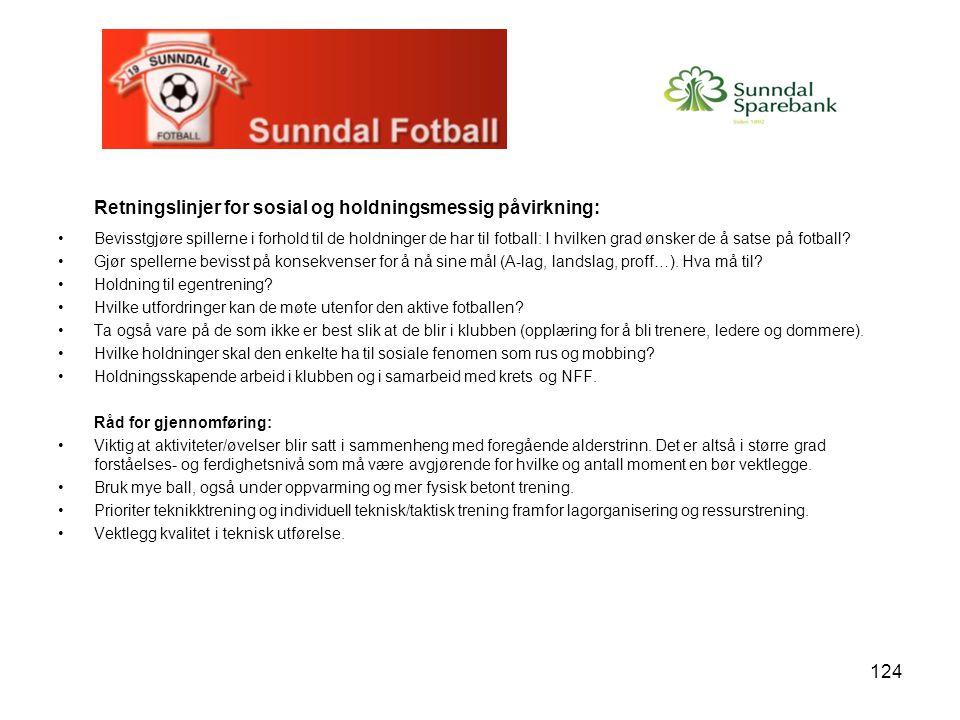 124 Retningslinjer for sosial og holdningsmessig påvirkning: Bevisstgjøre spillerne i forhold til de holdninger de har til fotball: I hvilken grad ønsker de å satse på fotball.