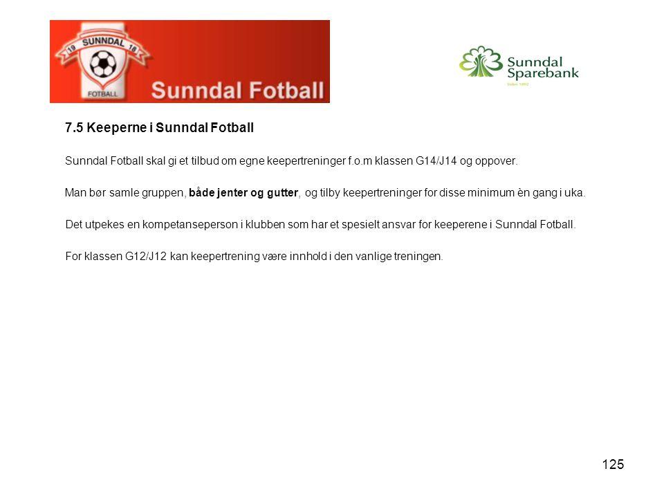 125 7.5 Keeperne i Sunndal Fotball Sunndal Fotball skal gi et tilbud om egne keepertreninger f.o.m klassen G14/J14 og oppover. Man bør samle gruppen,