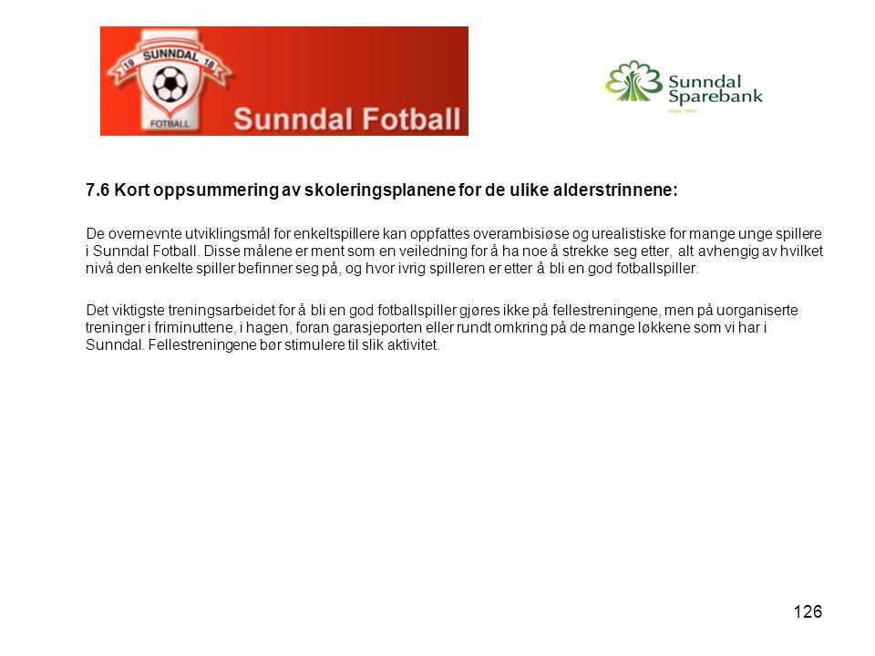 126 7.6 Kort oppsummering av skoleringsplanene for de ulike alderstrinnene: De overnevnte utviklingsmål for enkeltspillere kan oppfattes overambisiøse og urealistiske for mange unge spillere i Sunndal Fotball.