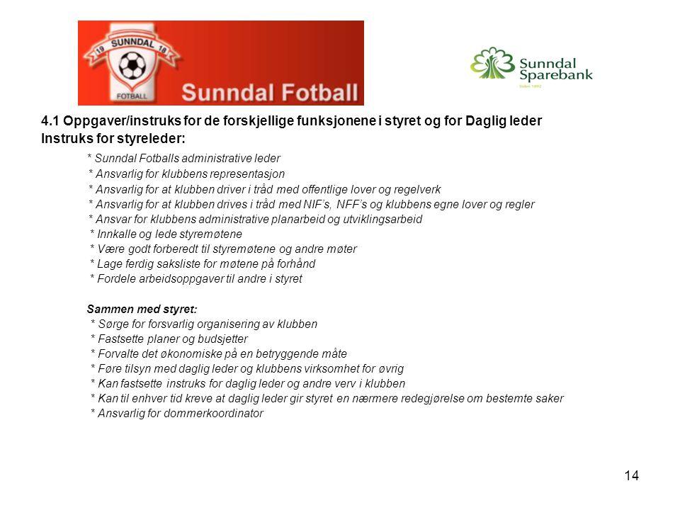 14 4.1 Oppgaver/instruks for de forskjellige funksjonene i styret og for Daglig leder Instruks for styreleder: * Sunndal Fotballs administrative leder