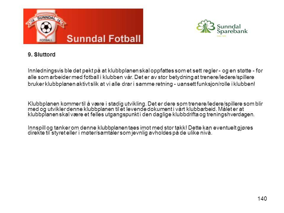 140 9. Sluttord Innledningsvis ble det pekt på at klubbplanen skal oppfattes som et sett regler - og en støtte - for alle som arbeider med fotball i k