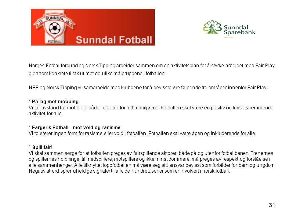31 Norges Fotballforbund og Norsk Tipping arbeider sammen om en aktivitetsplan for å styrke arbeidet med Fair Play gjennom konkrete tiltak ut mot de ulike målgruppene i fotballen.