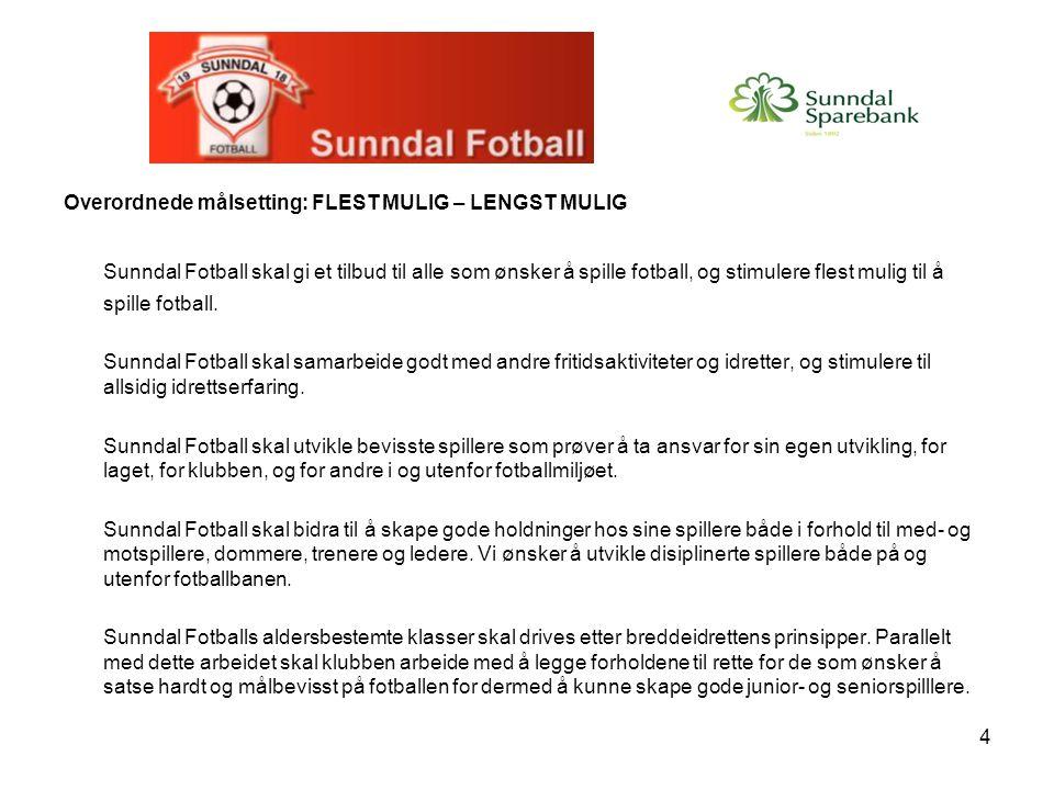 4 Overordnede målsetting: FLEST MULIG – LENGST MULIG Sunndal Fotball skal gi et tilbud til alle som ønsker å spille fotball, og stimulere flest mulig
