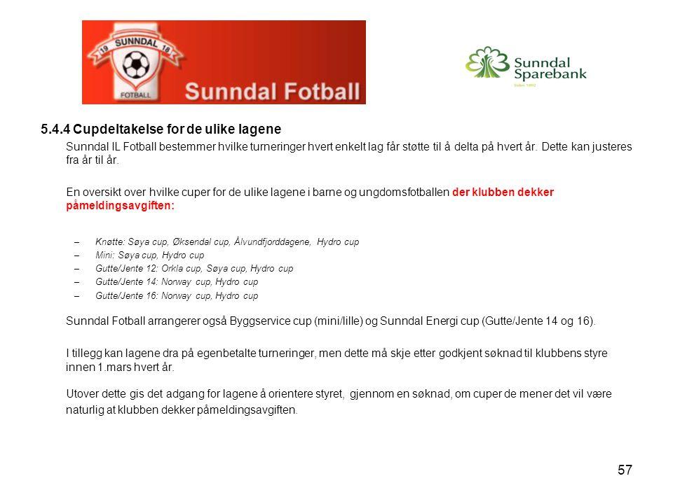 57 5.4.4 Cupdeltakelse for de ulike lagene Sunndal IL Fotball bestemmer hvilke turneringer hvert enkelt lag får støtte til å delta på hvert år. Dette
