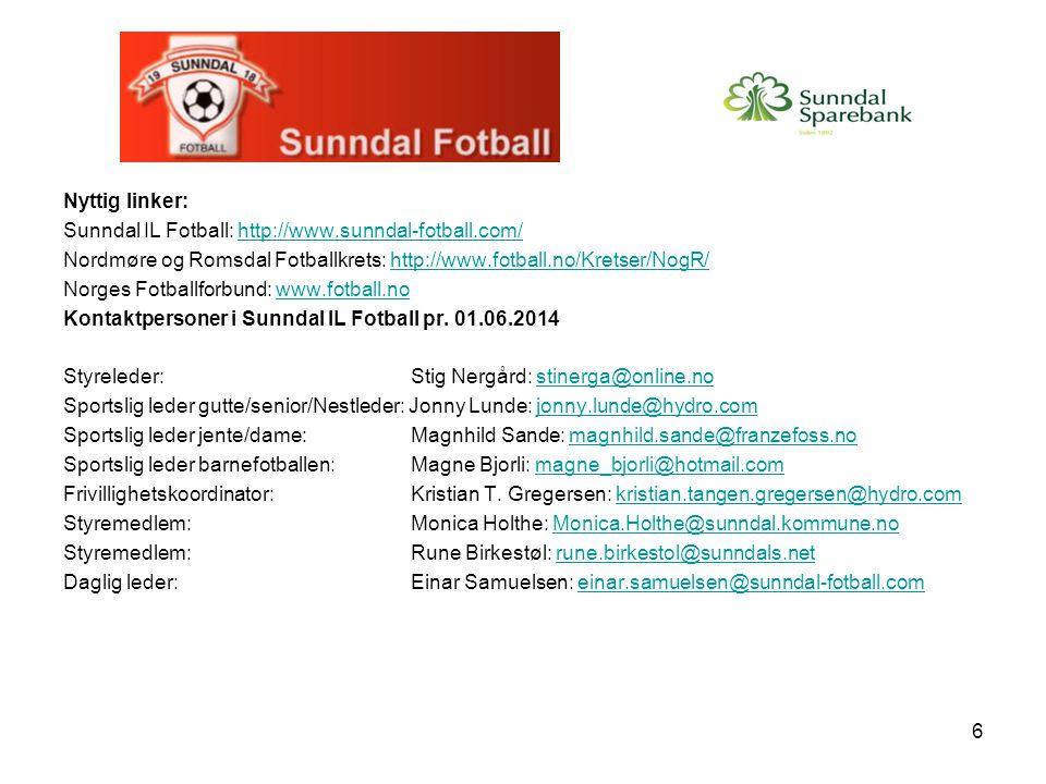 6 Nyttig linker: Sunndal IL Fotball: http://www.sunndal-fotball.com/http://www.sunndal-fotball.com/ Nordmøre og Romsdal Fotballkrets: http://www.fotba