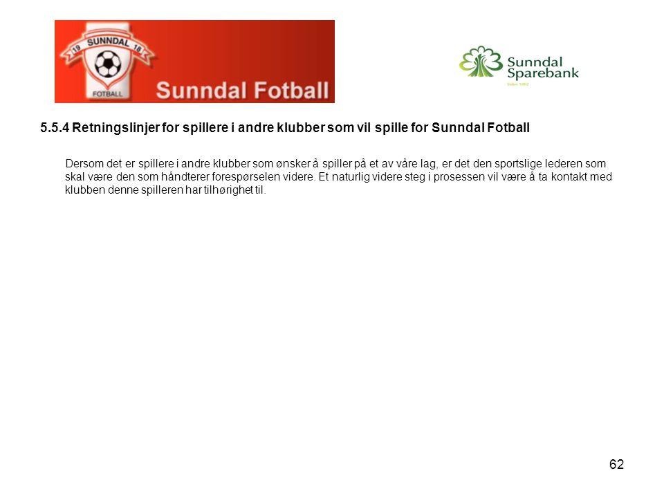 62 5.5.4 Retningslinjer for spillere i andre klubber som vil spille for Sunndal Fotball Dersom det er spillere i andre klubber som ønsker å spiller på et av våre lag, er det den sportslige lederen som skal være den som håndterer forespørselen videre.