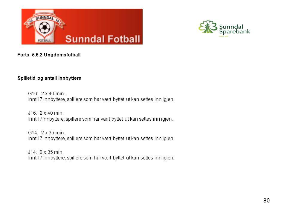 80 Forts. 5.6.2 Ungdomsfotball Spilletid og antall innbyttere G16: 2 x 40 min. Inntil 7 innbyttere, spillere som har vært byttet ut kan settes inn igj