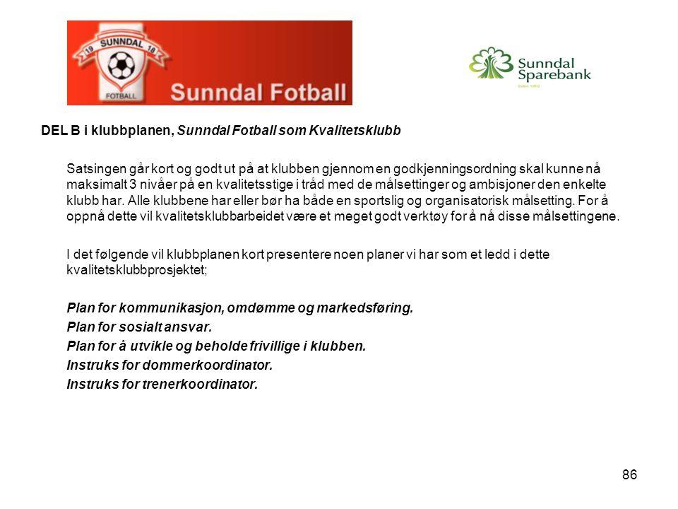 86 DEL B i klubbplanen, Sunndal Fotball som Kvalitetsklubb Satsingen går kort og godt ut på at klubben gjennom en godkjenningsordning skal kunne nå maksimalt 3 nivåer på en kvalitetsstige i tråd med de målsettinger og ambisjoner den enkelte klubb har.