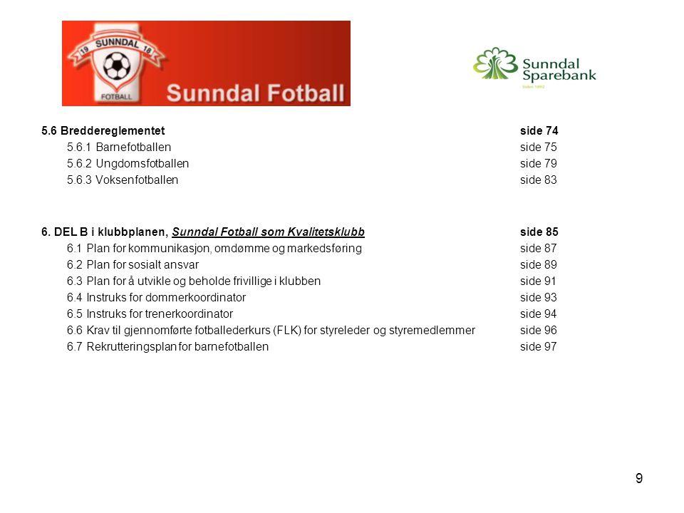 9 5.6 Breddereglementetside 74 5.6.1 Barnefotballenside 75 5.6.2 Ungdomsfotballenside 79 5.6.3 Voksenfotballenside 83 6. DEL B i klubbplanen, Sunndal