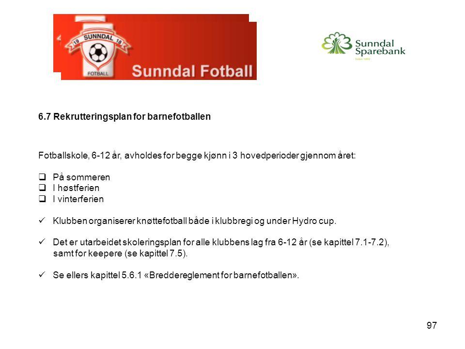 97 6.7 Rekrutteringsplan for barnefotballen Fotballskole, 6-12 år, avholdes for begge kjønn i 3 hovedperioder gjennom året:  På sommeren  I høstferi
