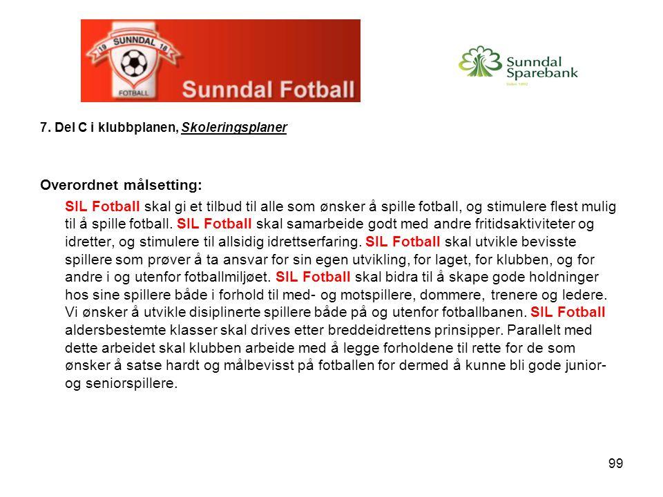 99 7. Del C i klubbplanen, Skoleringsplaner Overordnet målsetting: SIL Fotball skal gi et tilbud til alle som ønsker å spille fotball, og stimulere fl