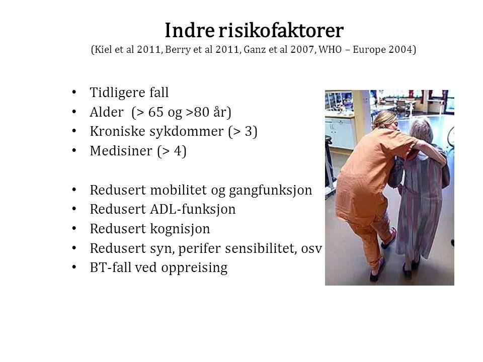 Indre risikofaktorer (Kiel et al 2011, Berry et al 2011, Ganz et al 2007, WHO – Europe 2004) Tidligere fall Alder (> 65 og >80 år) Kroniske sykdommer