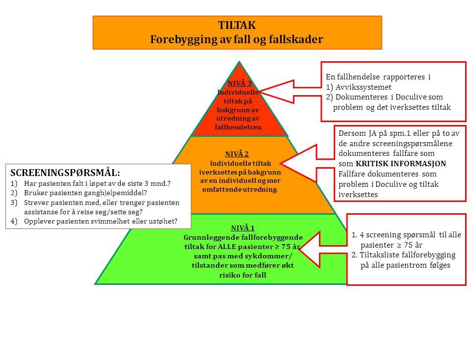 TILTAK Forebygging av fall og fallskader NIVÅ 2 Individuelle tiltak iverksettes på bakgrunn av en individuell og mer omfattende utredning. NIVÅ 3 Indi