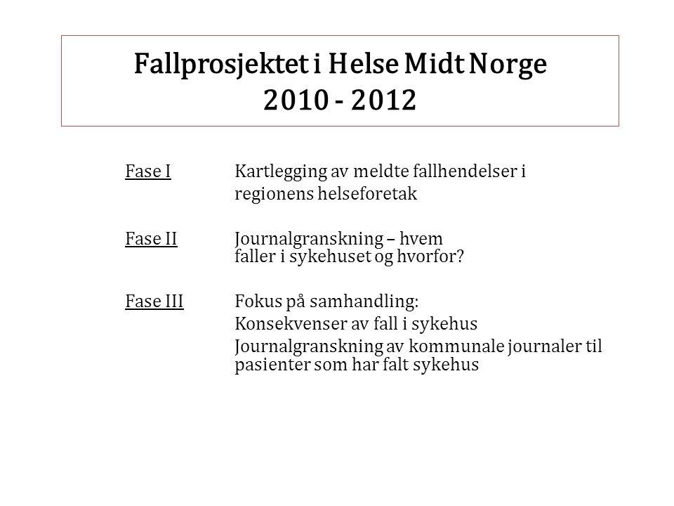 Fallprosjektet i Helse Midt Norge 2010 - 2012 Fase IKartlegging av meldte fallhendelser i regionens helseforetak Fase IIJournalgranskning – hvem falle