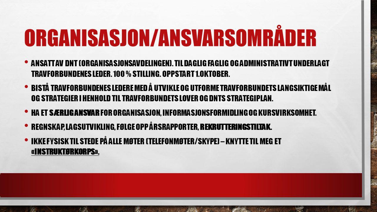 ORGANISASJON/ANSVARSOMRÅDER ANSATT AV DNT (ORGANISASJONSAVDELINGEN).