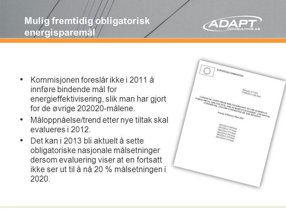 Mulig fremtidig obligatorisk energisparemål Kommisjonen foreslår ikke i 2011 å innføre bindende mål for energieffektivisering, slik man har gjort for