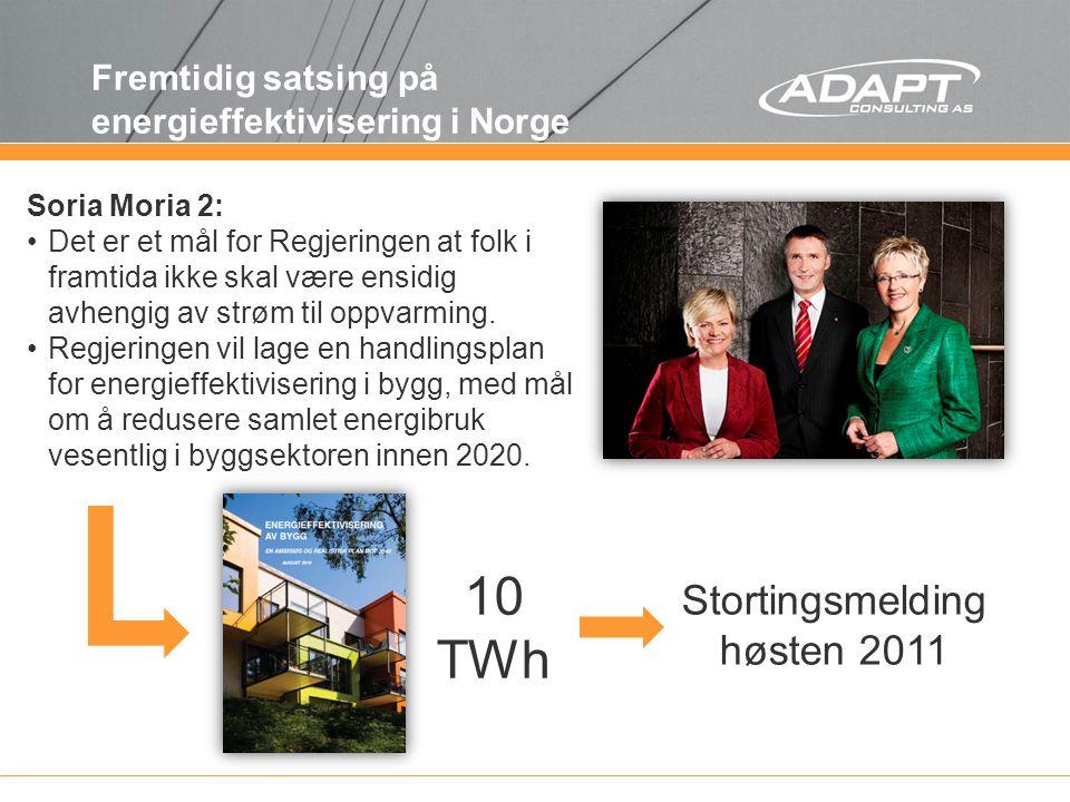 Fremtidig satsing på energieffektivisering i Norge Soria Moria 2: Det er et mål for Regjeringen at folk i framtida ikke skal være ensidig avhengig av