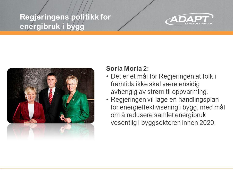 Soria Moria 2: Det er et mål for Regjeringen at folk i framtida ikke skal være ensidig avhengig av strøm til oppvarming. Regjeringen vil lage en handl